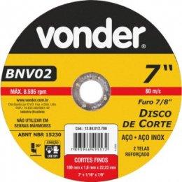 Disco De Corte 180 Mm X 1,6 Mm X 22,23 Mm Bnv 02 Vonder