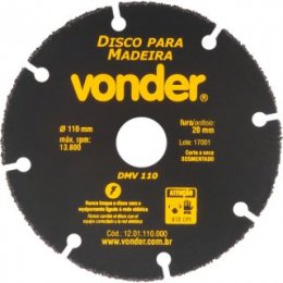 Disco de corte para madeira 110 mm DMV 110 VONDER Máximo de 50 Imagens