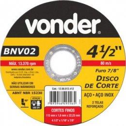 Disco de corte 115 mm x 1,6 mm x 22,23 mm, BNV 02, VONDER
